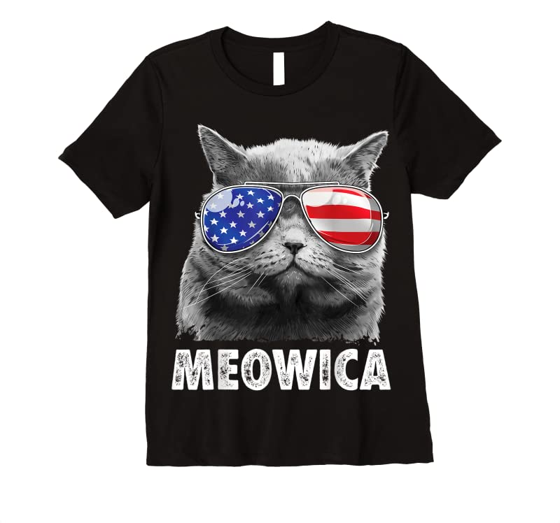Adorable Cat 4th Of July Meowica Merica Men Usa American Flag T Shirts