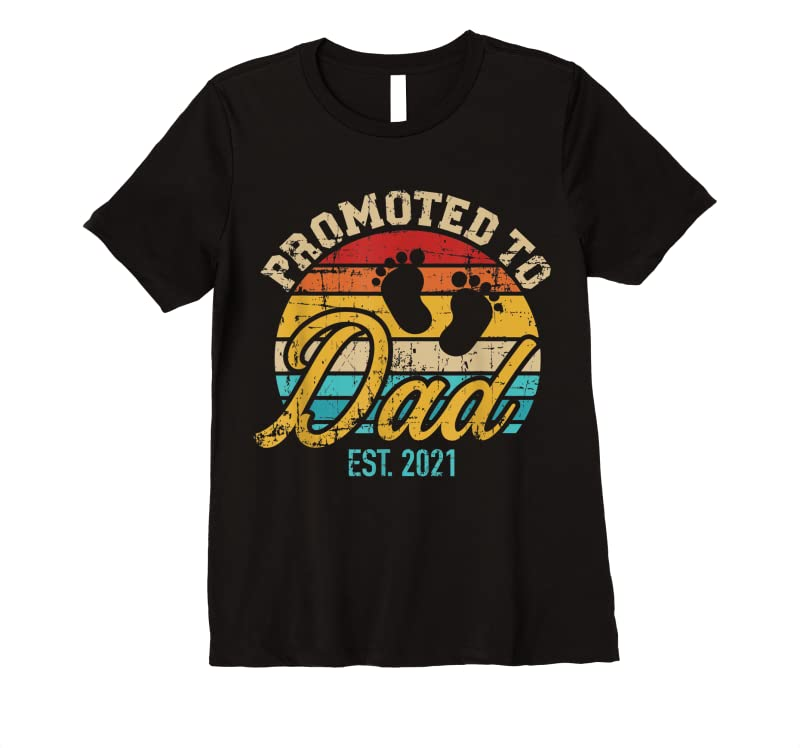 New Promoted To Dad Est 2021 Vintage T Shirts - Tees.Design