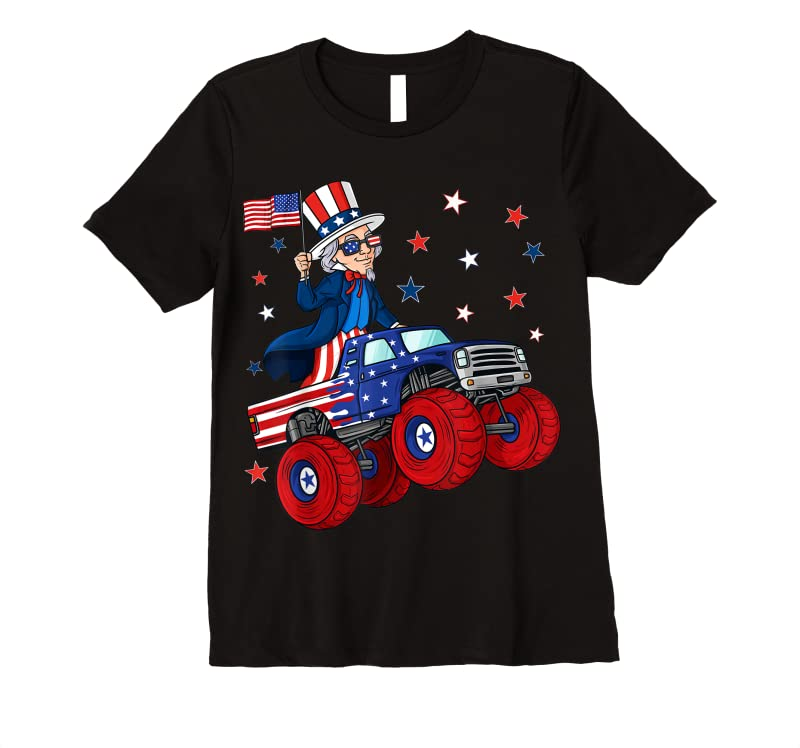 Order Now Uncle Sam Riding Monster Truck 4th Of July Funny Boys Kids T Shirts