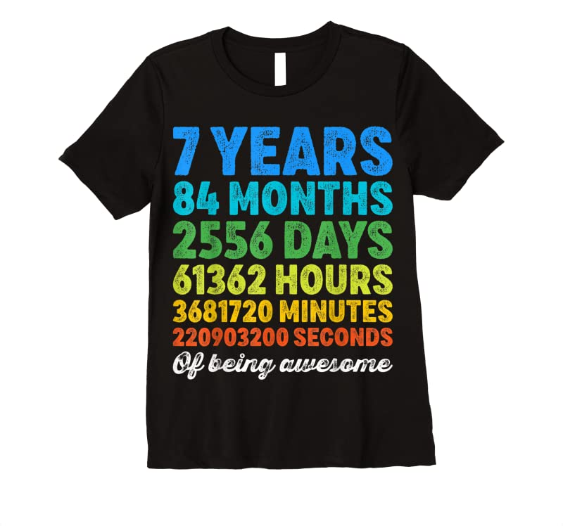 Perfect 7 Years Old 7th Birthday Vintage Retro Countdown T Shirts