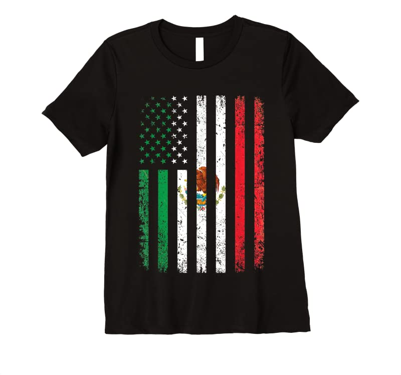 Shop Mexico Flag Gift 4th Of July Usa American Mexican Flag T Shirts