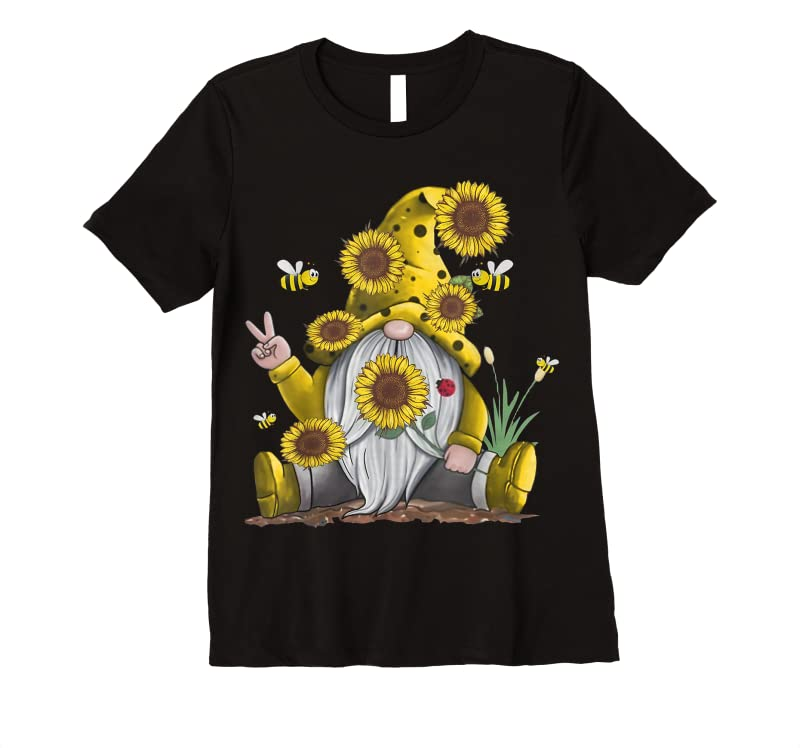 Unisex Sunflower Gnome With Bee Funny Hippie Gnome T Shirts